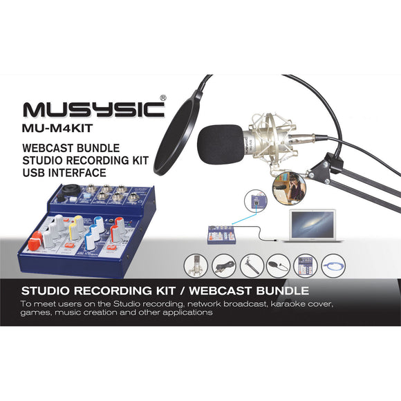 MUSYSIC Studio Recording/Webcast Kit, 4-Channel Mixer w/ USB Interface MU-M4KIT