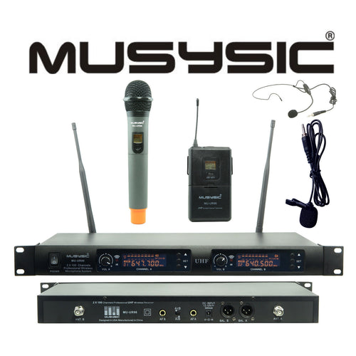 2x100 Channel UHF Handheld & Lapel/Lavalier Wireless Microphone System MU-UR96HL