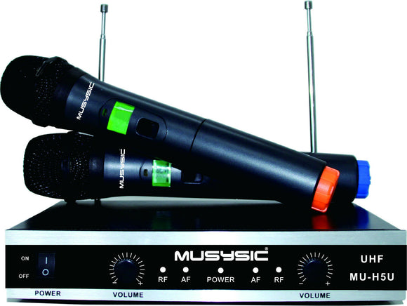 MUSYSIC Professional Dual Channel UHF Wireless Handheld Microphone System MU-H5U