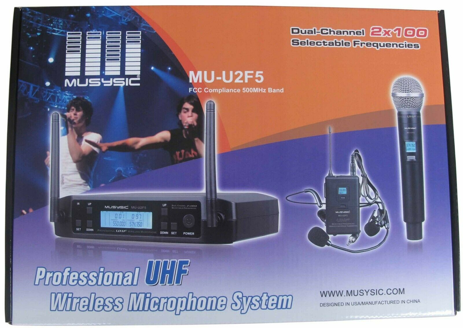MUSYSIC Dual (2x100 freq) Channels UHF Wireless Handheld