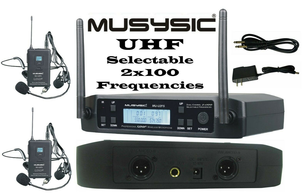 MUSYSIC 2x100 Channels UHF Wireless Lavalier Lapel Headset Microphone MU-U2F5-LL