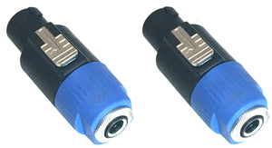 "MUSYSIC Speakon 4-Pole to 1/4"" TS Female Adapter Converter Jack Connector 2-Pack"