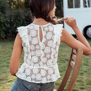 Ruffled Floral Embroidery Top