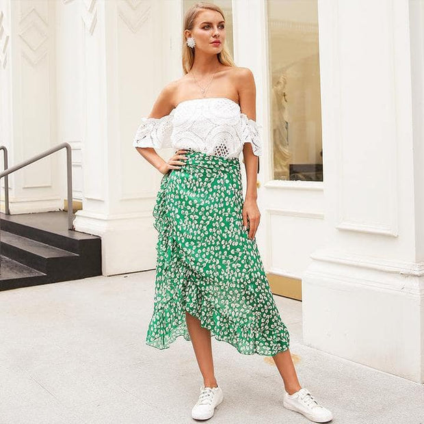 Boho Ruffle Wrap Skirt