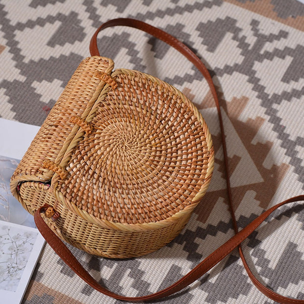 Vintage Straw Saddle Bag