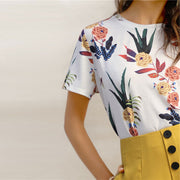 Floral Short Sleeve O-Neck Casual T-Shirt