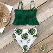 Tropical Green Leaf Bikini Set