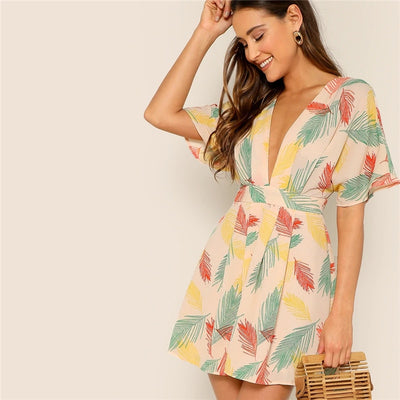 Plunge Neck Tropical Dress
