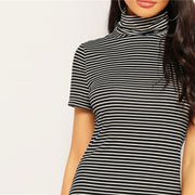 Turtleneck Striped Pencil Dress