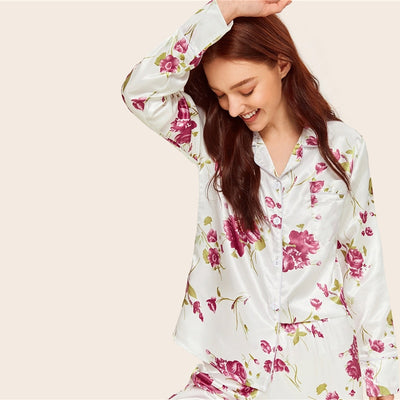Floral Print Notch Collar Pajama Set - My Coconut Heart