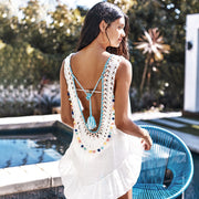 Pom Poms Backless Beach Dress