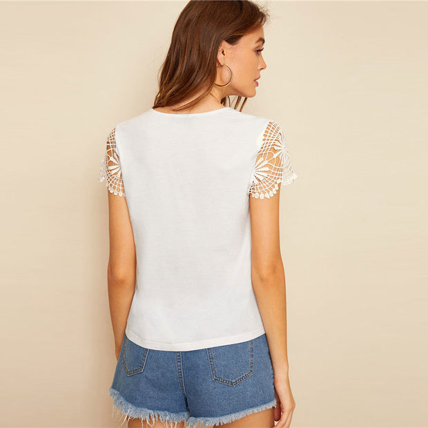 Guipure Lace Cup Sleeve Top