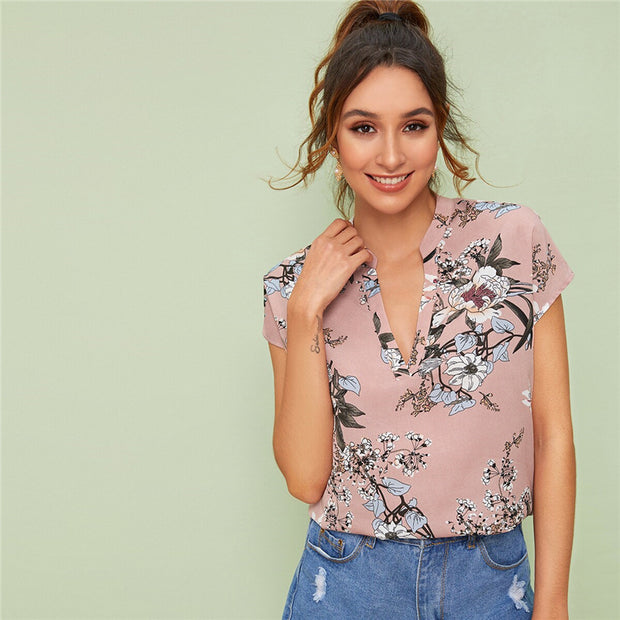 Notch Collar Floral Blouse