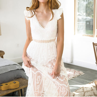 Lace Hollow-Out  Maxi Dress