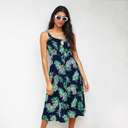 Leafy Mid-Calf Dress
