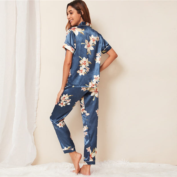 Floral Print Notch Collar Sleepwear - My Coconut Heart