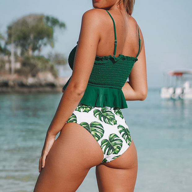 Tropical Green Leaf Bikini