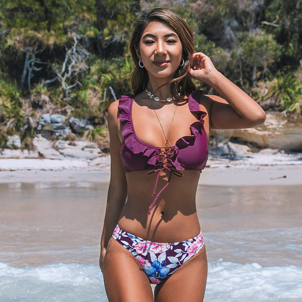 Purple Ruffles and Floral Bikini