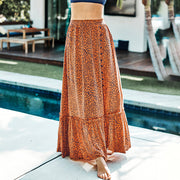 Leaf Print Beach Skirt