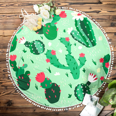 Green Cactus Round Beach Towel
