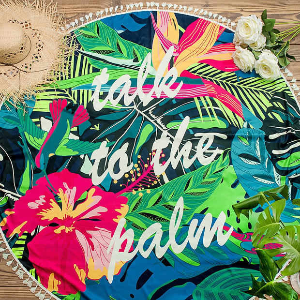 Colorful Tropical Round Beach Towel