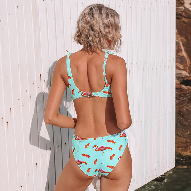Mint Green Flamingo Swimsuit
