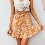 Lace Up Floral Print Skirt