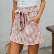 Bow Tie Plaid Skirt