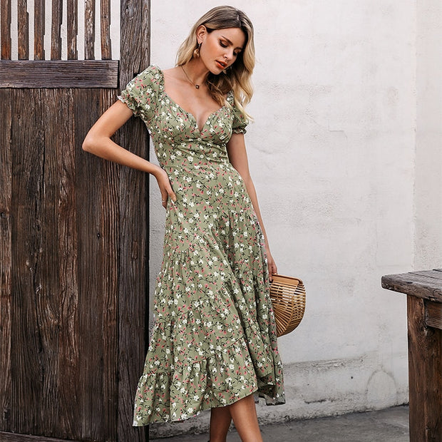 Puff Sleeve Maxi Dress