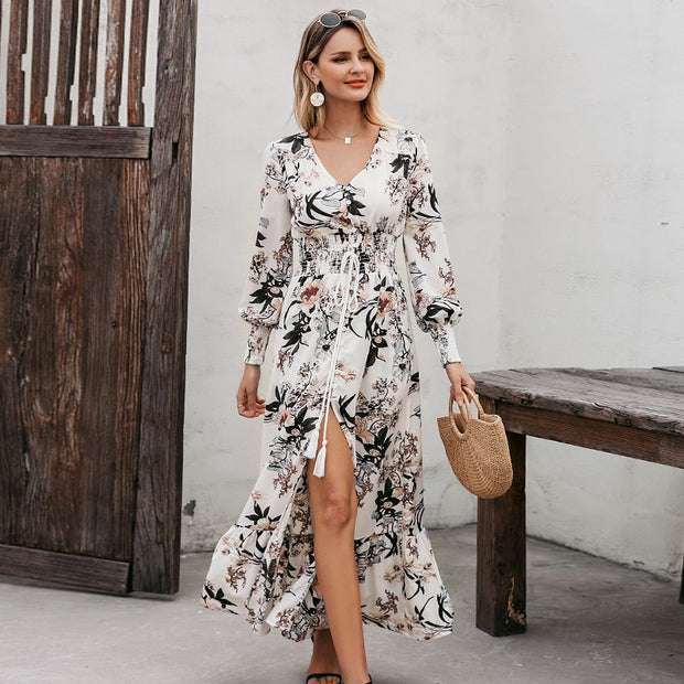 Lantern Sleeve Maxi Dress