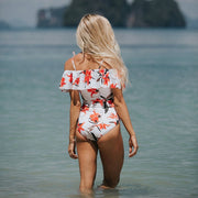Floral Ruffle Off Shoulder One-Piece Swimsuit