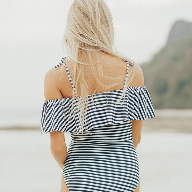 Striped Ruffle One-Piece Swimsuit