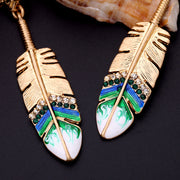 Gold Feather Long Earrings