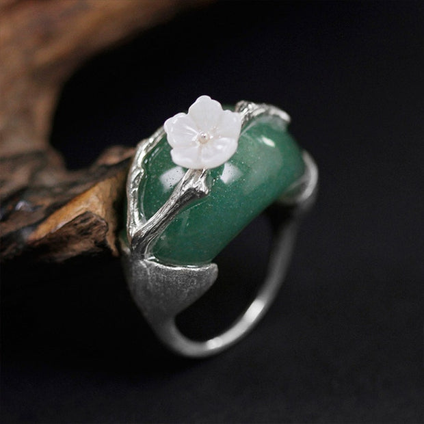 my-coconut-heart - Natural Stone Flower Ring - 925 Sterling