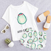Avocado Pattern Tee & Shorts PJ Set - My Coconut Heart