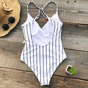 my-coconut-heart - Striped V-Neck One Piece Swimsuit