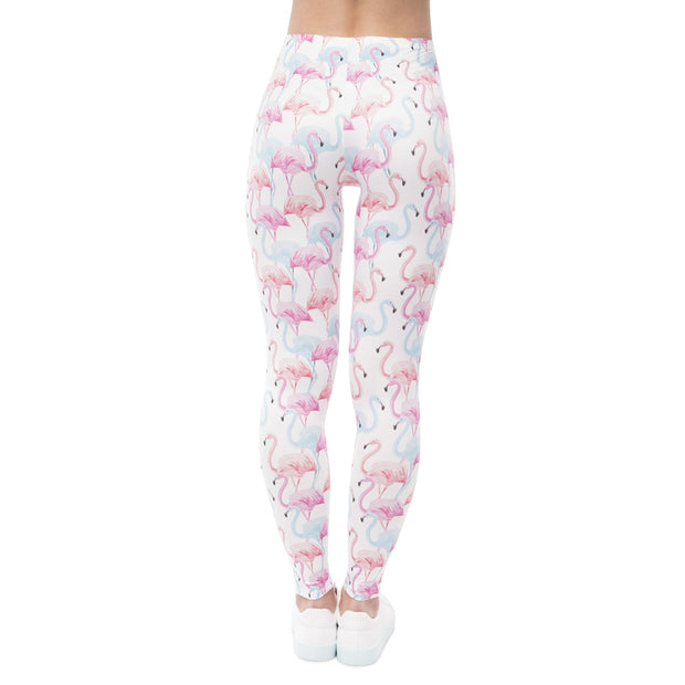 Flamingo Pattern Stretchy Leggings - My Coconut Heart
