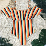 Multicolor Striped Off Shoulder One-Piece Swimsuit