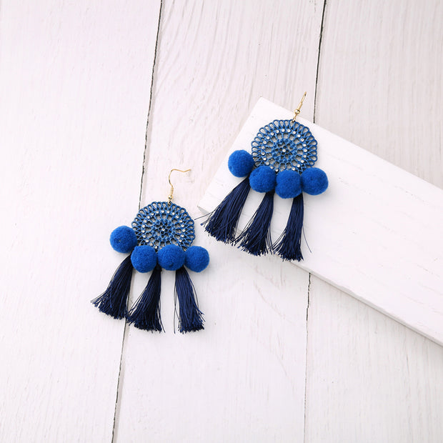 my-coconut-heart - Hollowed Flower Tassel Earrings