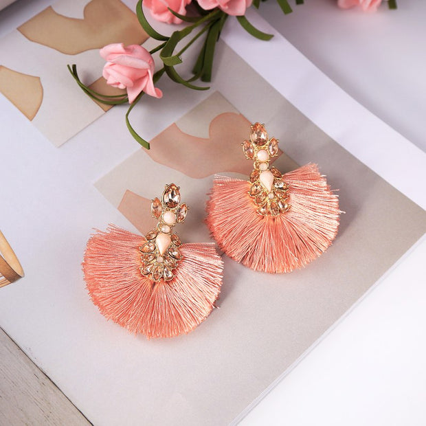 my-coconut-heart - Pink Tassel Earrings