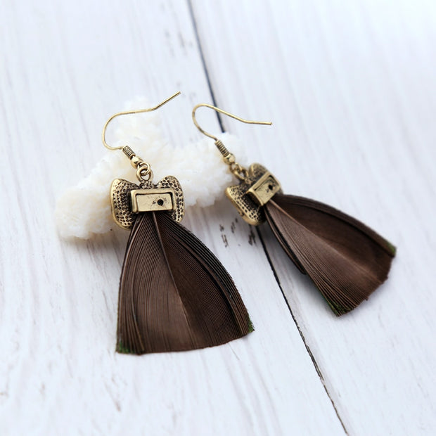 my-coconut-heart - Owl Feather Earrings