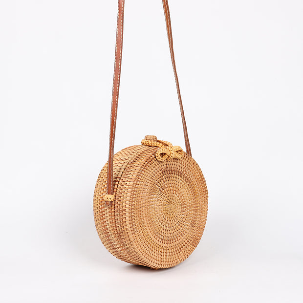 Boho Round Straw Shoulder Crossbody Bag