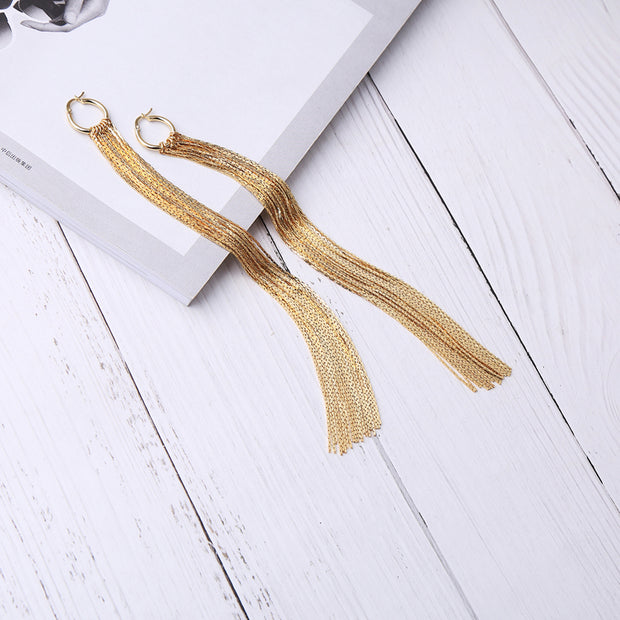 Gold Alloy Chain Long Earrings