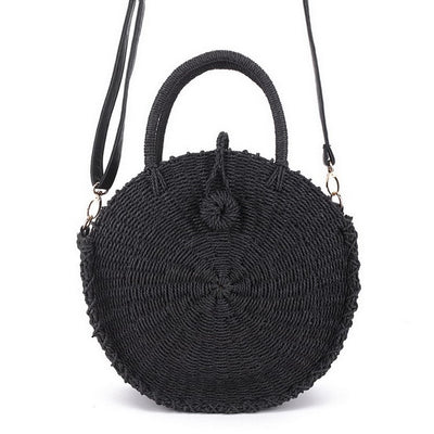 Black Straw Crossbody Bag