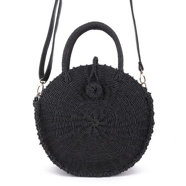 Black Straw Crossbody Bag - My Coconut Heart