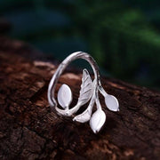 Leaves Ring 925 Sterling Silver