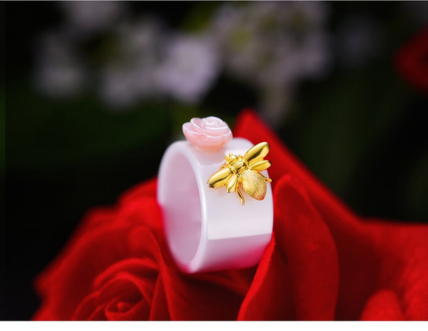 Gold Bee and Rose Ring