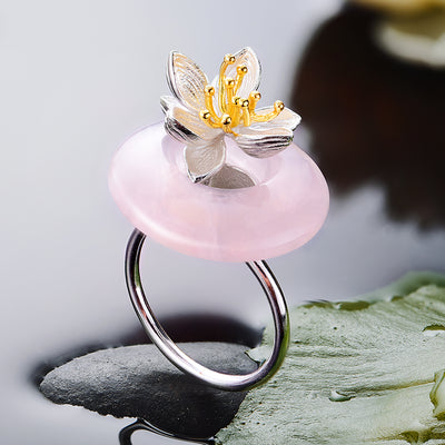 my-coconut-heart - Lotus Flower Ring 925 Sterling Silver