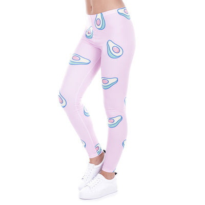 Avocado Print Pink Slim Leggings - My Coconut Heart