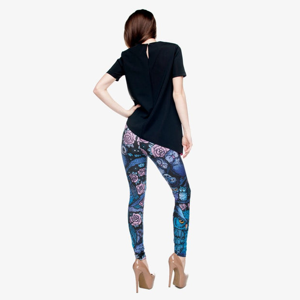 my-coconut-heart - Owl and Flowers Print Leggings